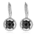 0.90 Cts Black & White Diamond Dangle Earrings in 14K White Gold
