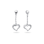 Royal Pave Dangle Heart Earrings in 14K White Gold