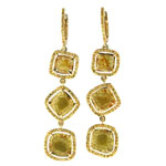 1.12-1.32 Cts Yellow Sapphire & 3.09-3.29 Cts Medium Yellow Slice Diamond Earrings in 14K Yellow Gold