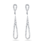 Royal Pave Drop Earrings in 14K White Gold