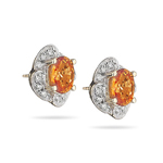 0.25 Ct Diamond & 1.82 Ct Orange Sapphire Earrings in 18K Yellow Gold