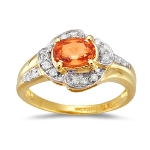 0.16 Cts Diamond & 0.91 Cts Orange Sapphire Ring in 18K Yellow Gold