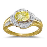 0.16 Cts Diamond & 0.91 Cts Yellow Sapphire Ring in 18K Yellow Gold