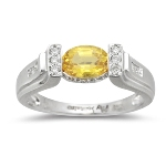 0.20 Ct Diamond & 0.91 Ct 7x5 Oval Yellow Sapphire Ring in 18KW Gold