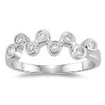 Diamond Bubble Ring - 1/4 Ct Diamond Bubble Ring in 14K Gold