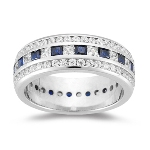 Eternity Band - 2.07 Ct Diamond & 1.20 Ct Sapphire Eternity Band