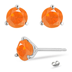 1.00 Ct Brazilian Fire Opal Stud Earrings in 14K White Gold