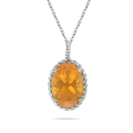 9.38 Cts of 18x13 mm AA Oval Brazilian Fire Opal Solitaire Pendant in 14K White Gold