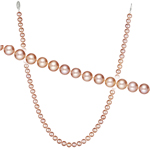 Single Strand Pink Fresh Water Cultured Pearl Necklace in Silver