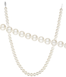 Single Strand Fresh Water 6.5-7.0 mm Pearl Necklace in 14K White Gold