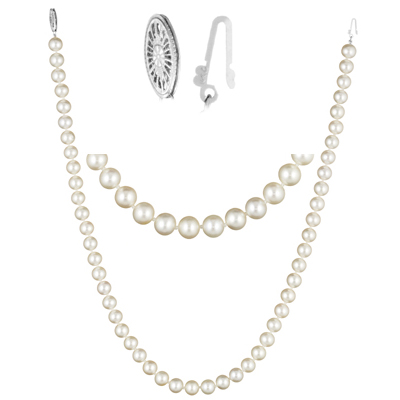 Single Strand Fresh Water Pearl Necklace in 14K White Gold