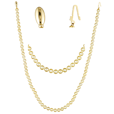 Single Strand Akoya Cultured Pearl Necklace in 14K Yellow Gold
