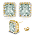 0.56 Ct Diamond &  19.24 Ct Green Amethyst Earrings in 18K Yellow Gold