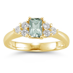 0.60 Cts Diamond & 3.72 Cts Green Amethyst Ring in 14K Yellow Gold