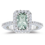 0.55 Cts Diamond & 5.84 Cts Green Amethyst Ring in Platinum