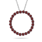 0.95 Cts AA Round Garnet Circle Pendant in 14K White Gold