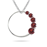 0.70 Cts AA Round Garnet Journey Circle Pendant in 14K White Gold