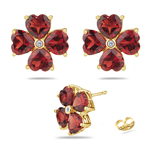0.01 Cts Diamond & 4.89 Cts of 5 mm AAA Heart Garnet Flower Earrings in 14K Yellow Gold