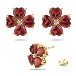 0.01 Cts Diamond & 4.89 Cts Garnet Flower Earrings in 14K Yellow Gold