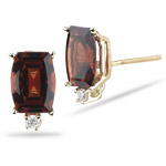 Diamond & 2.01-2.10 Ct 7x5 AA Barrel Cut Garnet Stud Earrings in 14KY Gold