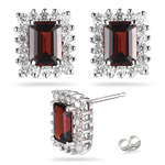 0.72 Cts Diamond & 2.23 Cts Garnet Cluster Earrings in 14K White Gold.