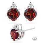 0.06 Cts Diamond & 1.66 Cts Garnet Stud Earrings in 14K White Gold