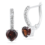 0.21 Cts Diamond & 1.90 Cts Garnet Heart Earrings in 14K White Gold