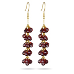 30.00 Cts Garnet Grapevine Earrings in 18K Yellow Gold