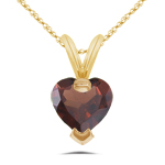 0.87 Cts of 6 mm AAA Heart Garnet Pendant in 14K Yellow Gold