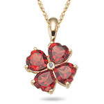 0.01 Ct Diamond & 3.82 Cts AAA Garnet Flower Pendant in 14K Yellow Gold