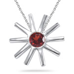 0.20 Ct 4 mm AA Round Garnet Solitaire Star-shaped Pendant in Silver