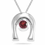 0.20 Ct 4 mm AA Round Garnet Solitaire Horse-Shoe Pendant in Silver - Christmas Sale
