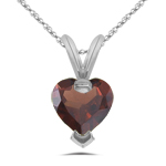 0.87 Cts 6 mm AA Heart Garnet Solitaire Pendant in 14K White Gold
