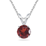1.20-1.75 Cts of 7 mm AAA Round Garnet Solitaire Pendant in 14K White Gold