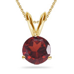 1.50 Cts Garnet Solitaire Pendant in 18K Yellow Gold
