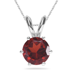 1.51 Cts of 7 mm AAA Round Garnet Solitaire Pendant in Platinum