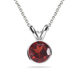 3.00-3.50 Cts of 9 mm AAA Round Garnet Solitaire Pendant in 14K White Gold