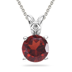 3.50-4.65 Cts of 10 mm AAA Round Garnet Solitaire Pendant in 14K White Gold