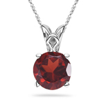 1.10 Cts of 6 mm AAA Round Garnet Solitaire Pendant in Platinum