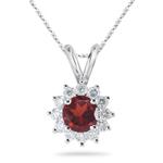 0.36 Ct Diamond & 1.49 Ct Garnet Pendant in Platinum