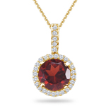 0.17 Cts Diamond &  1.08 Cts Garnet Pendant in 14K Yellow Gold