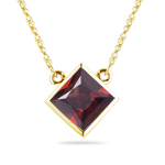 2.66 Cts Garnet Solitaire Pendant in 18K Yellow Gold