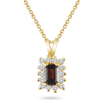 0.54 Cts Diamond &  4.12 Cts Garnet Pendant in 14K Yellow Gold