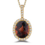 0.23 Cts Diamond &  4.17 Cts Garnet Pendant in 14K Yellow Gold