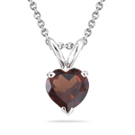 1.85 Cts Garnet Solitaire Pendant in 14K White Gold