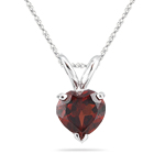 0.97 Cts of 6 mm AA Heart Garnet Solitaire Pendant in 14K White Gold