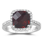 2.85 Cts Diamond & 8 mm AA Cushion Checkered Garnet Ring in 14KW Gold