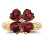 0.01 Ct Diamond & 3.90 Cts Garnet Flower Ring in 14K Yellow Gold