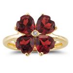 0.01 Ct Diamond & 3.90 Cts Garnet Flower Ring in 14K Yellow Gold