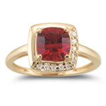 0.10 Ct Diamond & 1.86 Cts Garnet Ring in 14K Yellow Gold